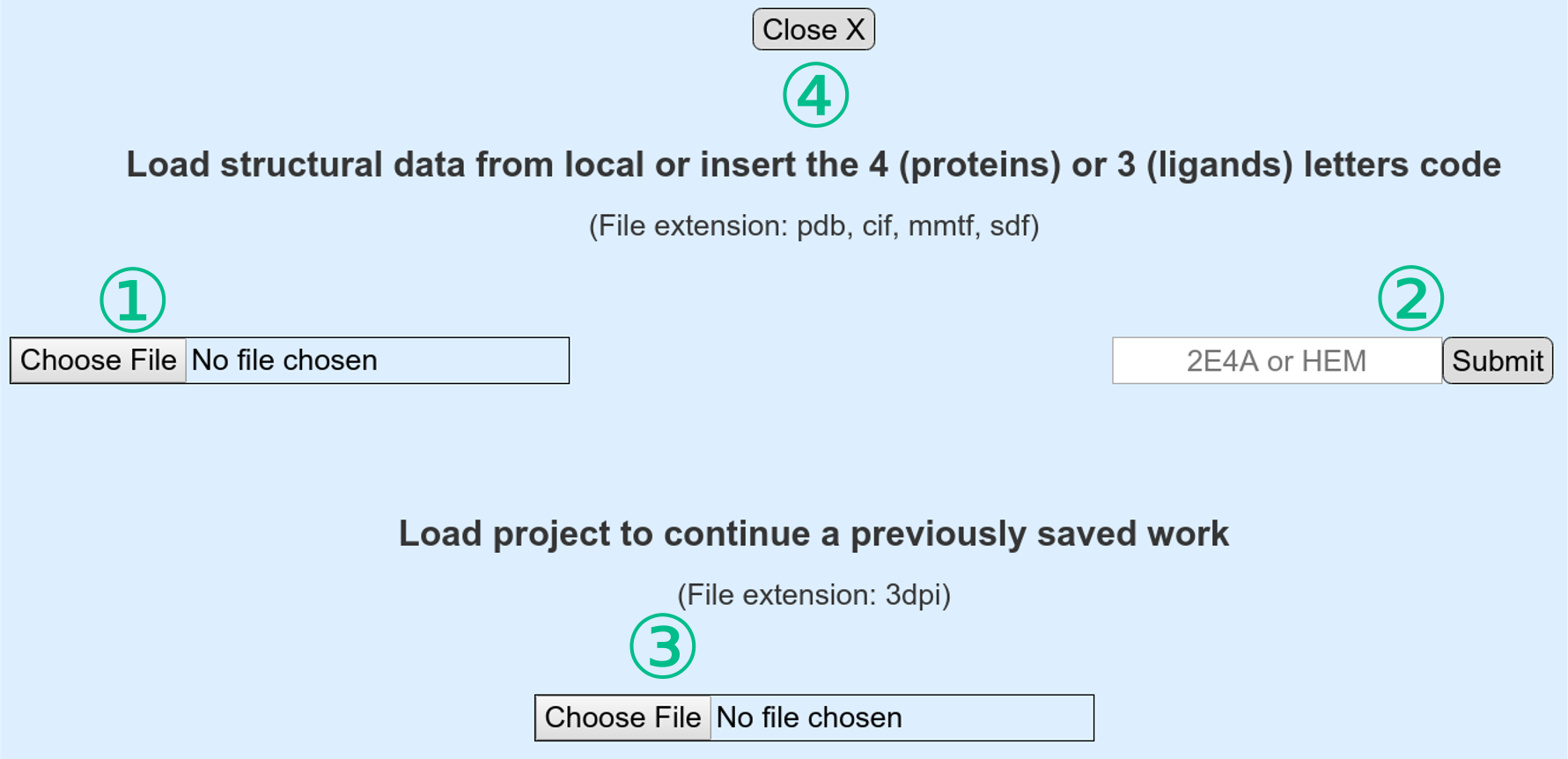 Starting panel from which to choose the file loading method.